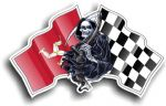 DEATH The Grim Reaper Design With Isle Of Man Mann Manx Flag TT Motif Vinyl Car Sticker 130x80mm